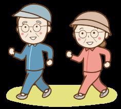 ウォーキングをする老夫婦の画像